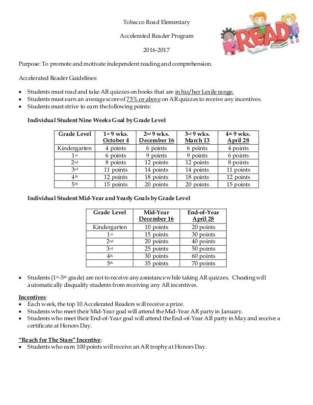 Tobacco Road Elementary Accelerated Reader Program 2016-2017 Purpose: To promote and motivate independent reading and comp...