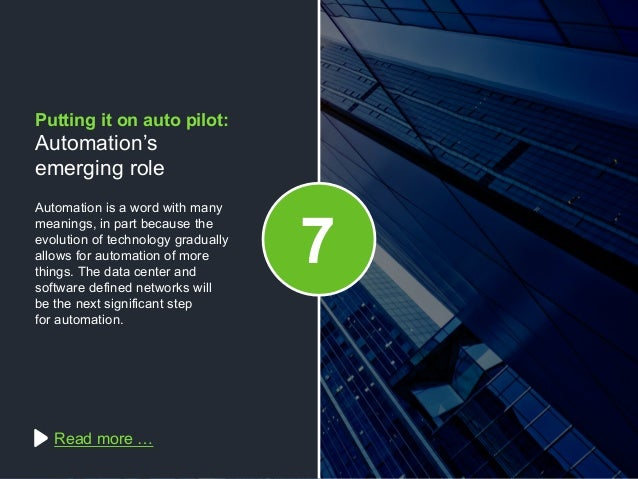Copyright © 2015 Dimension Data Automation is a word with many meanings, in part because the evolution of technology gradu...