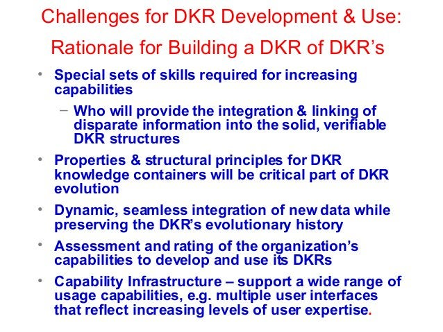 Challenges for DKR Development & Use: Rationale for Building a DKR of DKR's • Special sets of skills required for increasi...