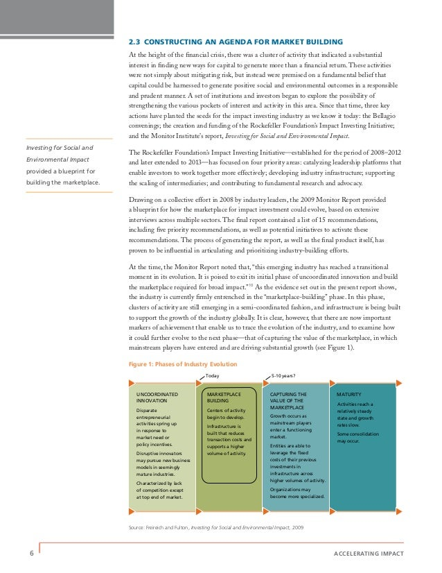 6 | ACCELERATING IMPACT 2.3 CONSTRUCTING AN AGENDA FOR MARKET BUILDING At the height of the financial crisis, there was a c...