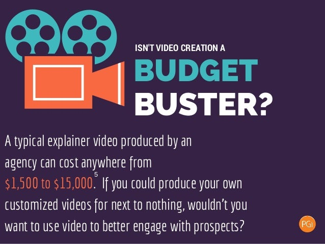BUDGET BUSTER? ISN'T VIDEO CREATION A A typical explainer video produced by an agency can cost anywhere from $1,500 to $15...