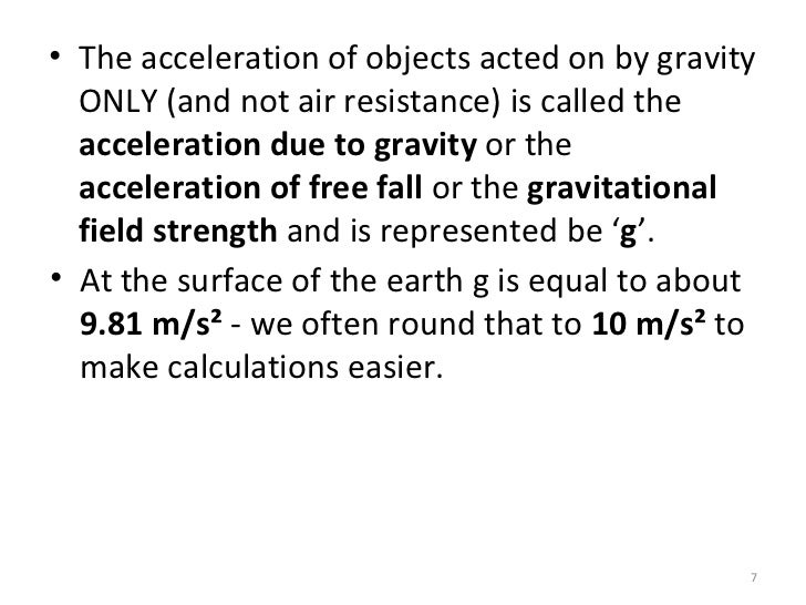 acceleration due to gravity conclusion