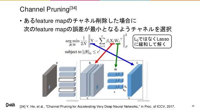 L0ではなくLasso に緩和して解く Channel Pruning[34] • あるfeature mapのチャネル削除した場合に 次のfeature mapの誤差が最小となるようチャネルを選択 20[34] Y. He, et al., ...