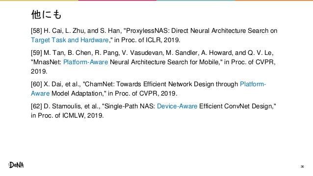 """他にも [58] H. Cai, L. Zhu, and S. Han, """"ProxylessNAS: Direct Neural Architecture Search on Target Task and Hardware,"""" in Pro..."""