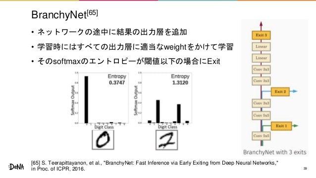 BranchyNet[65] • ネットワークの途中に結果の出力層を追加 • 学習時にはすべての出力層に適当なweightをかけて学習 • そのsoftmaxのエントロピーが閾値以下の場合にExit 39 [65] S. Teerapittay...