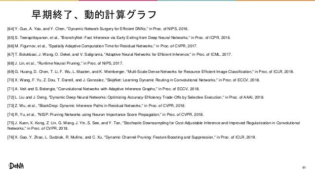 """早期終了、動的計算グラフ [64] Y. Guo, A. Yao, and Y. Chen, """"Dynamic Network Surgery for Efficient DNNs,"""" in Proc. of NIPS, 2016. [65] ..."""