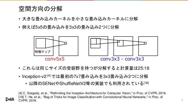 空間方向の分解 • 大きな畳み込みカーネルを小さな畳み込みカーネルに分解 • 例えば5x5の畳み込みを3x3の畳み込み2つに分解 • これらは同じサイズの受容野を持つが分解すると計算量は25:18 • Inception-v2 [4] では最初...