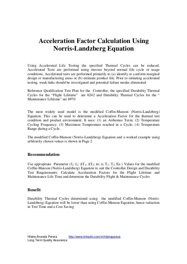 Acceleration Factor Calculation Using             Norris-Landzberg EquationUsing Accelerated Life Testing the specified Th...