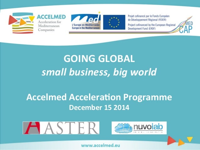 GOING  GLOBAL  small  business,  big  world  Accelmed  Accelera0on  Programme  December  15  2014