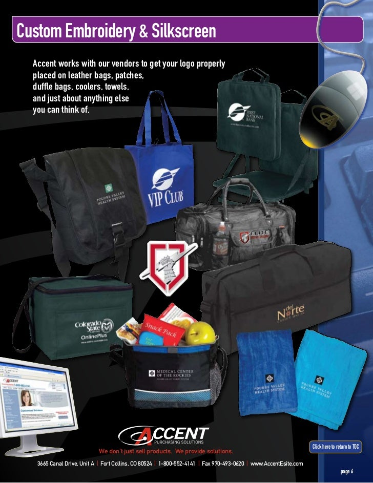 Custom Embroidery & Silkscreen  Accent works with our vendors to get your logo properly  placed on leather bags, patches, ...