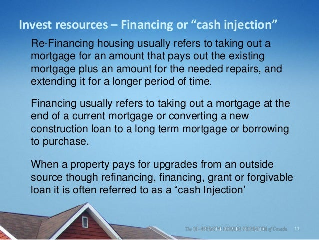 """Invest resources – Financing or """"cash injection"""" Re-Financing housing usually refers to taking out a mortgage for an amoun..."""
