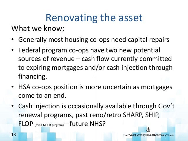 Renovating the asset What we know; • Generally most housing co-ops need capital repairs • Federal program co-ops have two ...