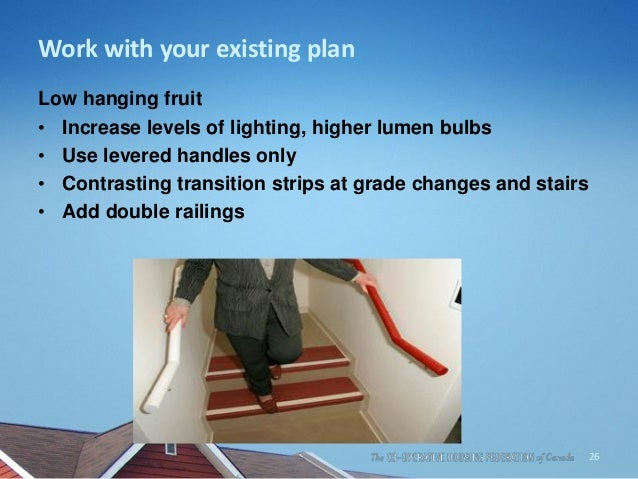 Work with your existing plan Low hanging fruit • Increase levels of lighting, higher lumen bulbs • Use levered handles onl...