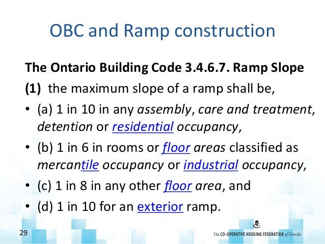 OBC and Ramp construction The Ontario Building Code 3.4.6.7. Ramp Slope (1) the maximum slope of a ramp shall be, • (a) 1 ...