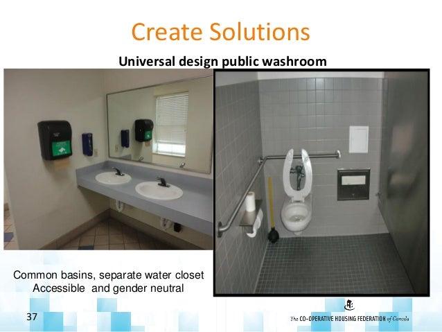 Create Solutions Universal design public washroom 37 Transfer space, open wash basin Common basins, separate water closet ...
