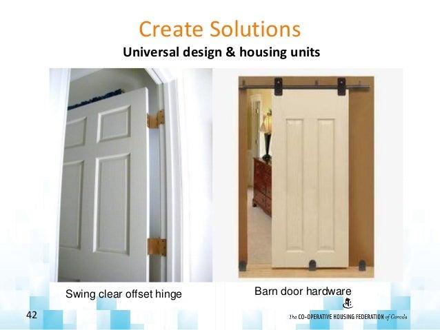 Create Solutions Universal design & housing units 42 Swing clear offset hinge Barn door hardware