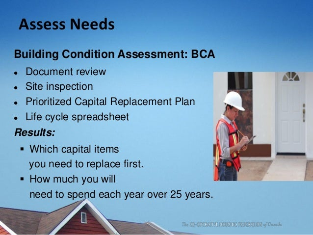 Assess Needs Building Condition Assessment: BCA  Document review  Site inspection  Prioritized Capital Replacement Plan...