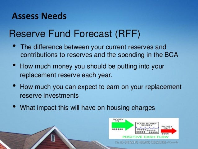 Assess Needs Reserve Fund Forecast (RFF) • The difference between your current reserves and contributions to reserves and ...