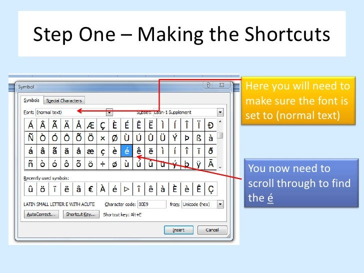 Creating shortcuts for French accented letters