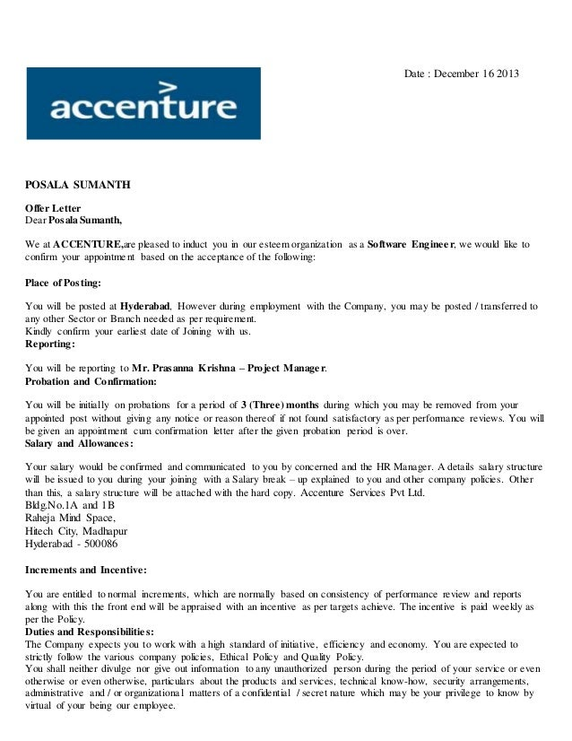 Accenture date december 16 2013 posala sumanth offer letter dear posala sumanth we at accenture thecheapjerseys Images