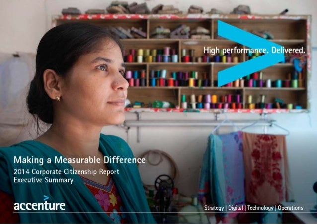 High performance.  Delivered.   Making a Measurable Difference  2014 Corporate Citizenship Report Executive Summary   Stra...