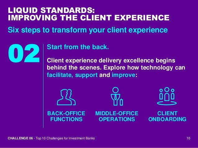 Challenge 6 improving the client experience top 10 challenges for i - Bank middle office functions ...