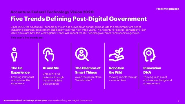 3 Five Trends Defining Post-Digital Government Accenture Federal Technology Vision 2020: #TECHVISION2020 AIandMe Unlock AI...