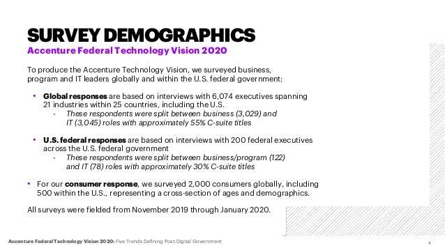 SURVEYDEMOGRAPHICS 4Accenture Federal Technology Vision 2020: Five Trends Defining Post-Digital Government Accenture Feder...