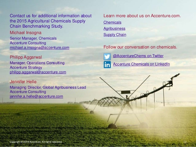 Copyright © 2016 Accenture All rights reserved. 13 Learn more about us on Accenture.com. Chemicals Agribusiness Supply Cha...