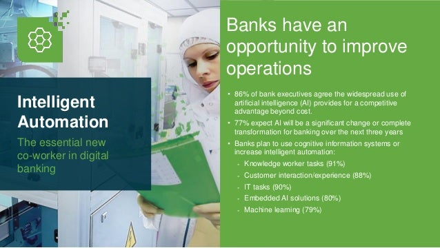 Intelligent Automation The essential new co-worker in digital banking Banks have an opportunity to improve operations • 86...