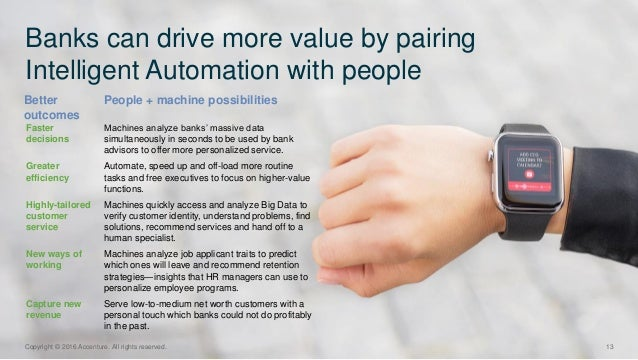Better outcomes Banks can drive more value by pairing Intelligent Automation with people 13Copyright © 2016 Accenture. All...