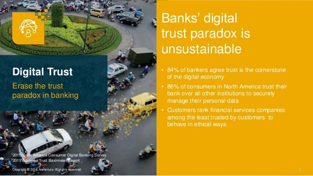 Digital Trust Erase the trust paradox in banking 6Copyright © 2016 Accenture. All rights reserved. Banks' digital trust pa...