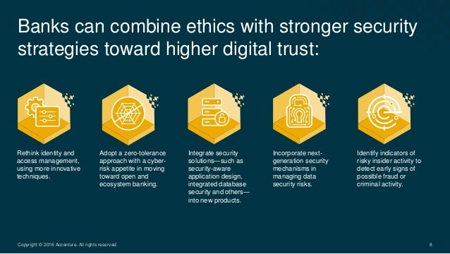 Banks can combine ethics with stronger security strategies toward higher digital trust: 8Copyright © 2016 Accenture. All r...