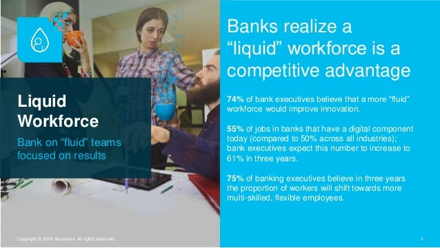 """Liquid Workforce Bank on """"fluid"""" teams focused on results 9Copyright © 2016 Accenture. All rights reserved. Banks realize ..."""