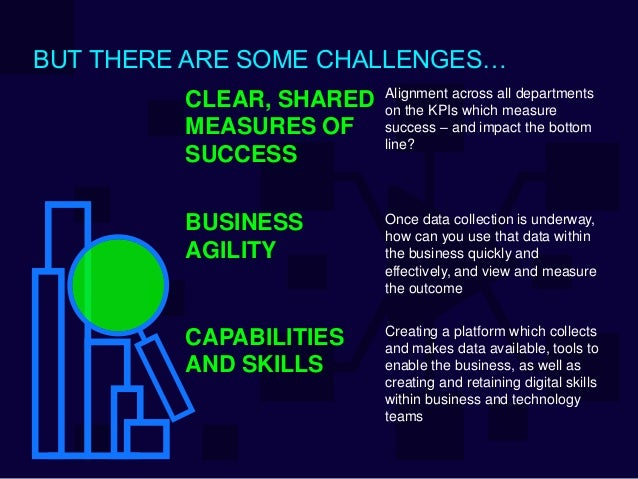 BUT THERE ARE SOME CHALLENGES… Alignment across all departments on the KPIs which measure success – and impact the bottom ...