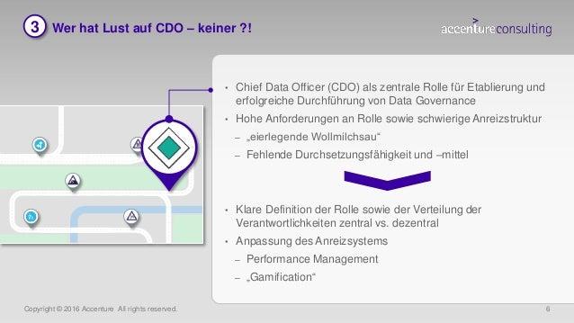 Copyright © 2016 Accenture All rights reserved. 6 3 Wer hat Lust auf CDO – keiner ?! • Chief Data Officer (CDO) als zentra...