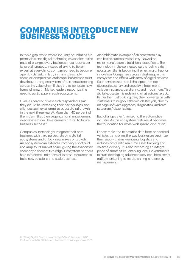 35DIGITAL TRANSFORMS THE WORLD AS WE KNOW IT COMPANIES INTRODUCE NEW BUSINESS MODELS In this digital world where industry ...