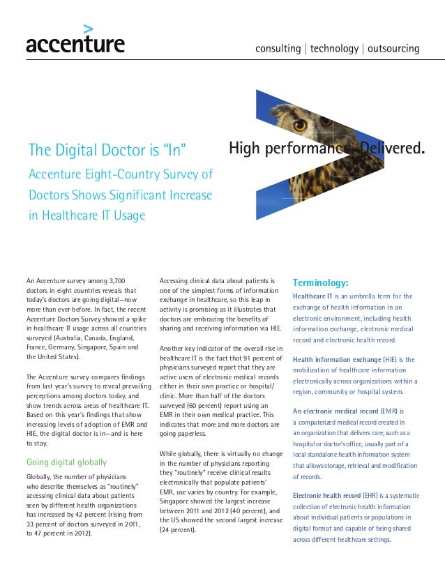 "The Digital Doctor is ""In""Accenture Eight-Country Survey ofDoctors Shows Significant Increasein Healthcare IT UsageAn Acce..."