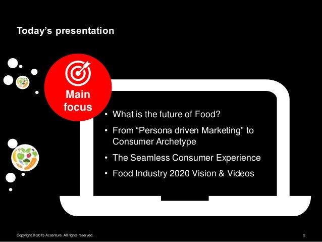 """Copyright © 2015 Accenture. All rights reserved. 2 Today's presentation • What is the future of Food? • From """"Persona driv..."""