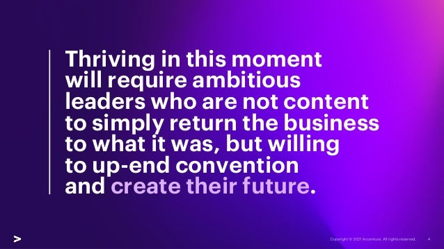 Thriving in this moment will require ambitious leaders who are not content to simply return the business to what it was, b...