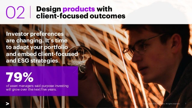Design products with client-focused outcomes Investor preferences are changing. It's time to adapt your portfolio and embe...