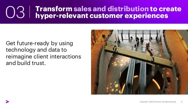 Transform sales and distribution to create hyper-relevant customer experiences 03 Get future-ready by using technology and...