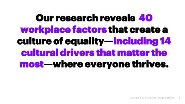 11 Our research reveals 40 workplace factors that create a culture of equality—including 14 cultural drivers that matter t...