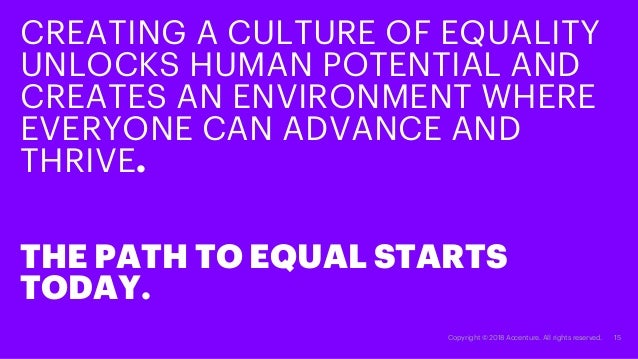 15Copyright © 2018 Accenture. All rights reserved. CREATING A CULTURE OF EQUALITY UNLOCKS HUMAN POTENTIAL AND CREATES AN E...