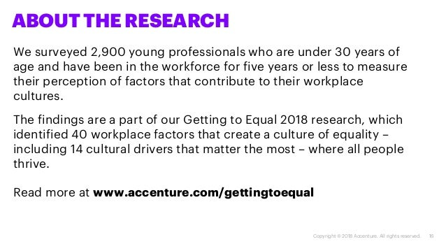16Copyright © 2018 Accenture. All rights reserved. ABOUT THE RESEARCH We surveyed 2,900 young professionals who are under ...