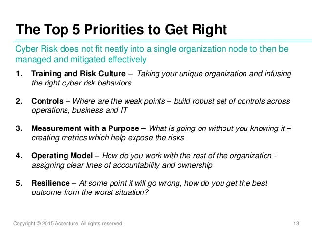 Copyright © 2015 Accenture All rights reserved. 13 1. Training and Risk Culture – Taking your unique organization and infu...