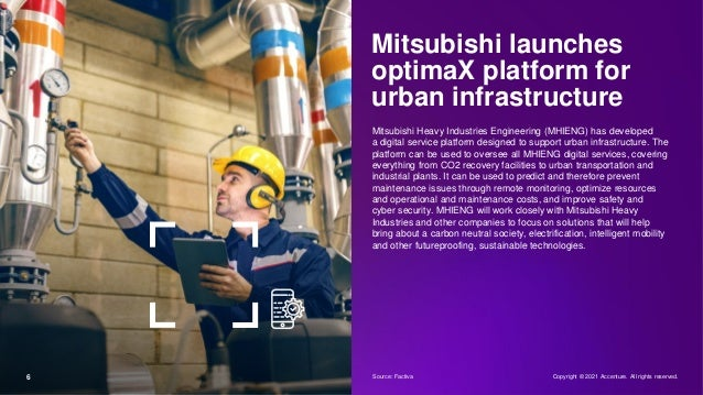 6 Mitsubishi launches optimaX platform for urban infrastructure Mitsubishi Heavy Industries Engineering (MHIENG) has devel...