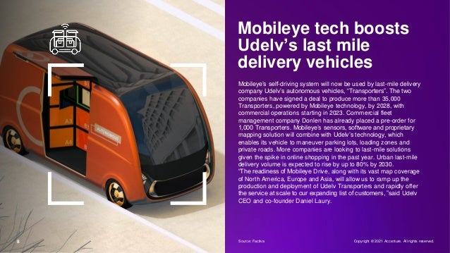 8 Mobileye tech boosts Udelv's last mile delivery vehicles Mobileye's self-driving system will now be used by last-mile de...