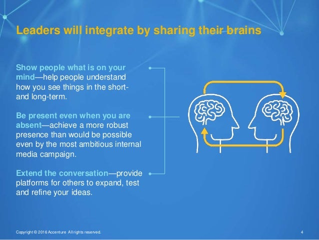 4Copyright © 2016 Accenture All rights reserved. Leaders will integrate by sharing their brains Show people what is on you...