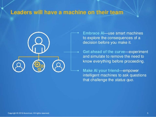 5Copyright © 2016 Accenture All rights reserved. Leaders will have a machine on their team Embrace AI—use smart machines t...